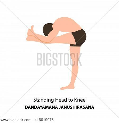 Man Practicing Yoga Pose Isolated Vector Illustration. Man Standing In Head To Knee Pose, Dandayaman