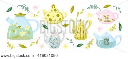 Set Of Teapots And Kettles. Glass And Ceramic Teapots, Elements For The Illustration Of The Kitchen,