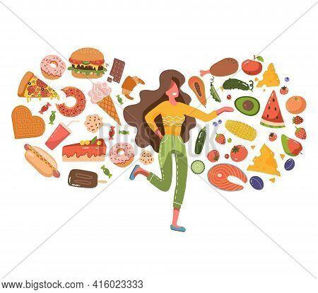 Cute Woman Confused About Choosing Healthy Or Unhealthy Foods. Fast Food Vs Healthy Food Menu. Femal