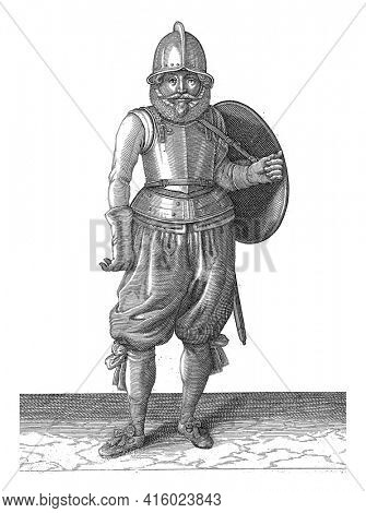 The exercise with shield and spear: the soldier brings his shield back with his left arm back on the back, vintage engraving.