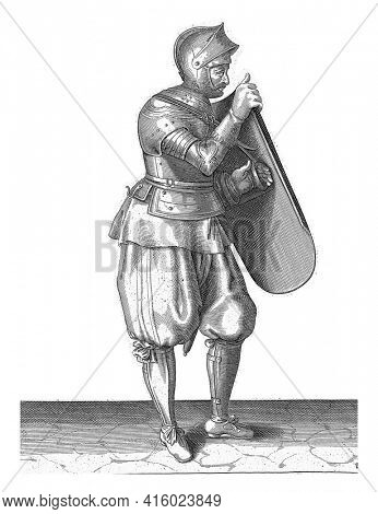 The exercise with the targe and rapier: the soldier detaches his hand from the belt of the targe, 1618, vintage engraving.