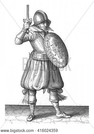 The exercise with shield and spear: the soldier presents his rapier by hand no higher than his face, vintage engraving.