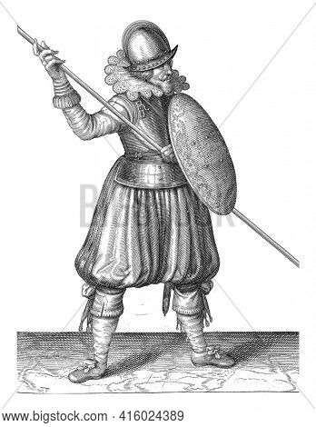 The exercise with shield and spear: the soldier brings the spear in three times in the correct position, first movement, vintage engraving.
