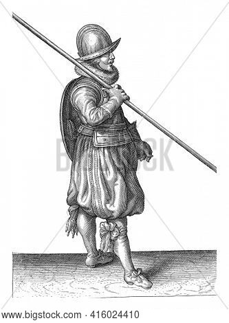 The exercise with shield and spear: the soldier with the spear in the safe and correct posture when marching, vintage engraving.