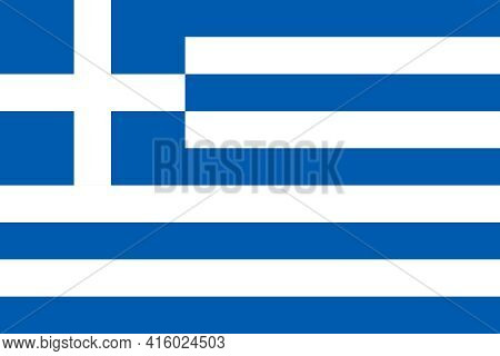 Official Flag Of Hellenic Republic. Correct Proportions And Colors. Nine Equal Horizontal Stripes Of