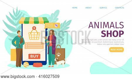 Animals Shop, Food For Mammal Nutrition, Vector Illustration. Man Woman People Mae Purchase At Phone