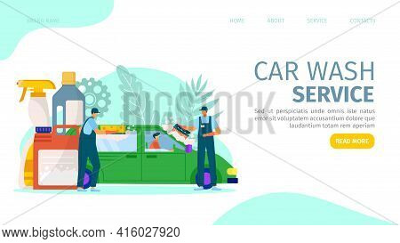 Car Wash Service, Vector Illustration. Auto Vehicle Cleaning, People Man Character Clean Up Automobi