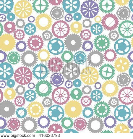 Vector Seamless Patern Gears. Colored Round Gear Elements Of The Mechanism. Isolated Details On Whit