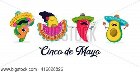 Cinco De Mayo - May 5, Federal Holiday In Mexico. Fun, Cute Characters As Chilli Pepper, Avocado, Ca
