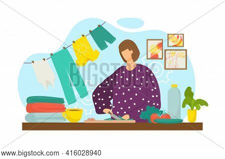 Housewife Cok Meal Dinner At Home, Vector Illustration. Cooking Healthy Lunch Woman At Cartoon Kitch