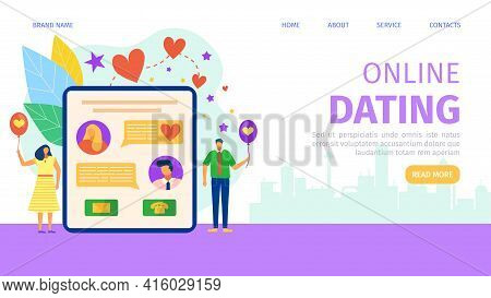 Online Dating At Internet Char, Vector Illustration. Man Woman Use Mobile Social Media App, Couple C