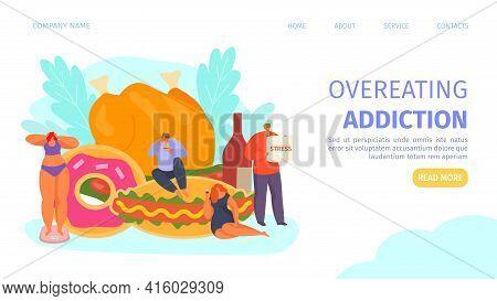 Overeating Unhealthy Addiction, Landing Page Vector Illustration. Man Woman People Eat Cartoon Food,