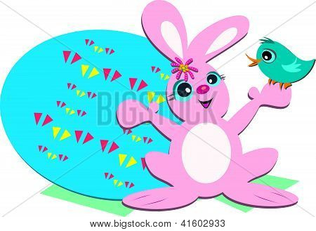 Easter Rabbit with Egg and Bird