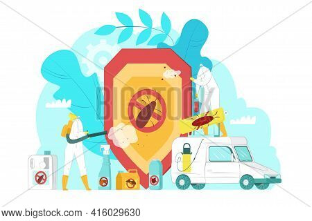 Pest Control Service Concept, Vector Illustration. People Character In Uniform Spray Chemical Insect