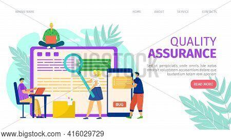Quality Assurance And Programming Development, Landing Banner Vector Illustration. Laptop Software S