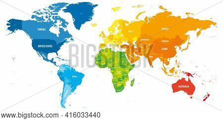 Colorful Political Map Of World. Different Colour Shade Of Each Continent. With Country Name Labels.