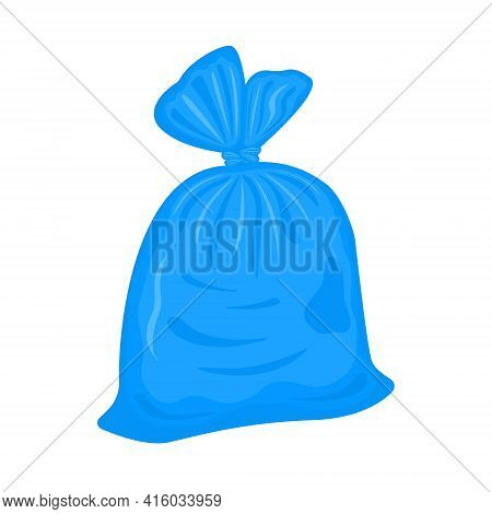 Filled Plastic Garbage Bag Isolated On White Background. Blue Pack With Trash. Tied Rubbish Package.