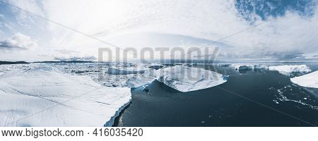 Iceberg And Ice From Glacier In Arctic Nature Landscape In Ilulissat, Greenland. Aerial Drone Photo