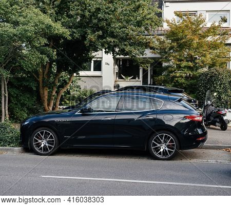 Strasbourg, France - Aug 26, 2018: Side View Of New Black Maserati Levante Suv Mid-size Luxury Cross