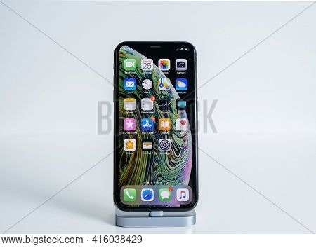 Paris, France - Sep 25, 2018: Isolated On White Latest Apple Computers Iphone Smartphone Xs Max Tele