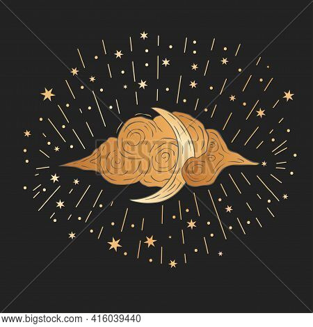 Celestial Moon Sacred Astrology Black Card. Boho Moonlight Esoteric Art Star Magic Golden Vector Art