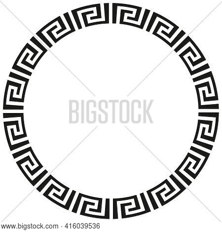 Round African Or Greek Border Frame Design.