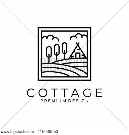Countryside Cottage Logo Vector Symbol Illustration Design, Line Art Cottage Logo Design.