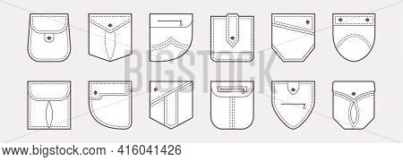 Patch Pocket Vector Icons, Buttons And Line Seam Of Shirt And Pants. Clothes Pockets Different Shape