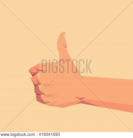 Human Hand Showing Thumbs Up Gesture Communication Language Gesturing Concept