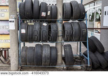Belgrade, Serbia - May 19, 2019:  Used Second Hand Tires For Sales In A Car Repair Shop In Belgrade,