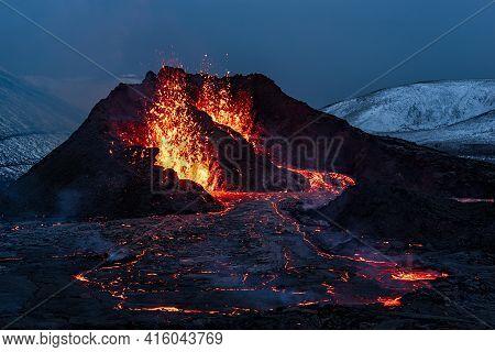Fagradalsfjall Volcanic Eruption At Night In Reykjanes Peninsula Around 40 Kilometres From Reykjavik