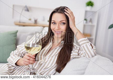 Portrait Of Attractive Cheerful Girl Sitting On Cosy Sofa Drinking Wine Homey Lonely Time At Home Ho