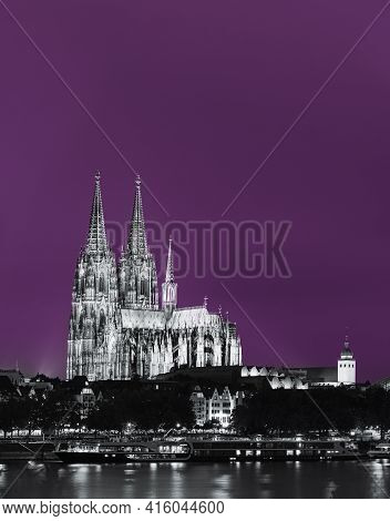 Cologne, Germany. Night View Of Cologne Cathedral. Catholic Gothic Cathedral In Night. Unesco World