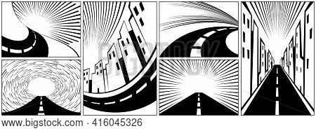 Set Of Backgrounds With Roads, Highways, And Expressways. Highway With Speed Lines And Empty Place F