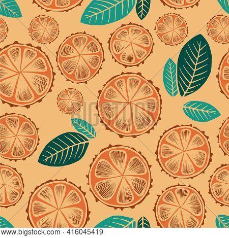 Lime, Grapefruit, Orange, Lеmon Tree Bold Vector Drawn Ink Painting Fruit Garden Leaves Illustration