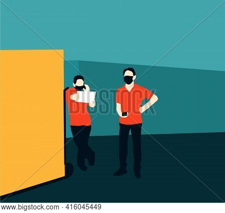 Deliveryman In Medical Mask Standing With His Cardboard Box On The Street Calling The Client To Deli