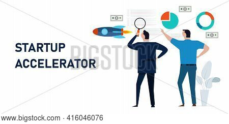 Startup Accelerator Accelerate Small Business Entrepreneur Technology Rocket Fly Chart And Coding