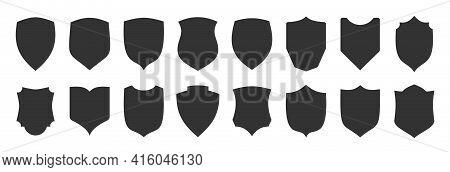 Shield Shape Black Icon Set. Security Minimal Sign Guard Flat Heraldic Simple Symbol. Defense Silhou