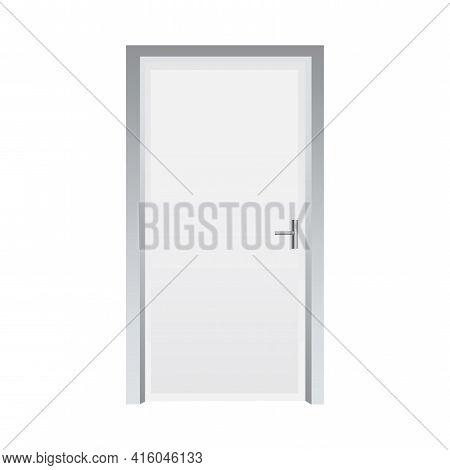 Classic Closed Door White. Interior Concept. Stock Image. Vector Illustration. Eps 10.