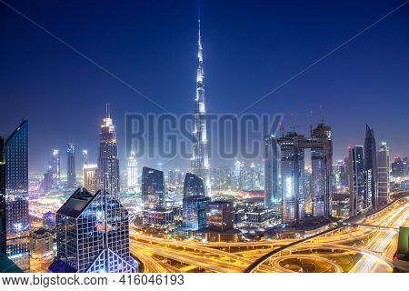 DUBAI, UAE - FEBRUARY 2018: Dubai skyline with Burj Khalifa