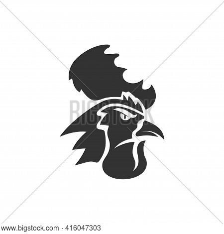 Chicken Rooster Head Mascot Animal Template Silhouette Isolated