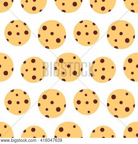 Cute Cartoon Style Chocolate Chip Cookies Vector Seamless Pattern Background.