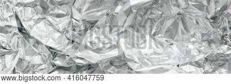 Silver Crumpled Foil Banner Background. Silver Texture, Silver Gradient Background, Shiny And Metal