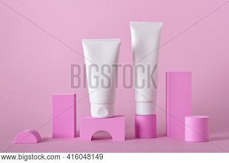 Beauty Natural Skincare Product Mock Up. Cream Tubes On Different Geometric Podiums. Body Skincare P