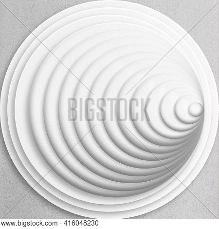 Abstract Illustration Made From Circle Shapes With White Blank Craft Paper Pattern With Copy Space.
