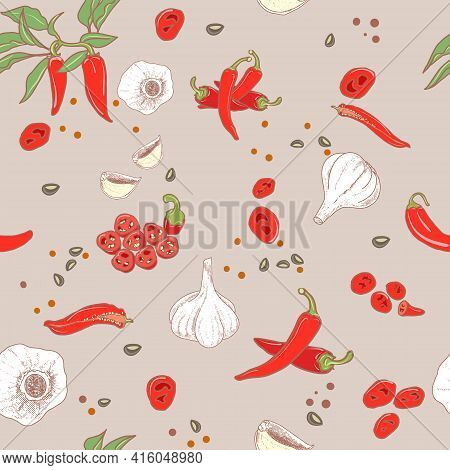 Seamless Pattern. Pepper On A Branch, A Pod In A Section, Paprika, Slices Of Chopped Red Pepper, Gar