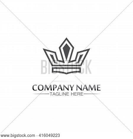 Crown Logo King Logo Queen Logo, Princess, Template Vector Icon Illustration Design Imperial, Royal,