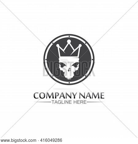 Skull And Crown Logo King Logo Queen Logo, Princess, Template Vector Icon Illustration Design Imperi