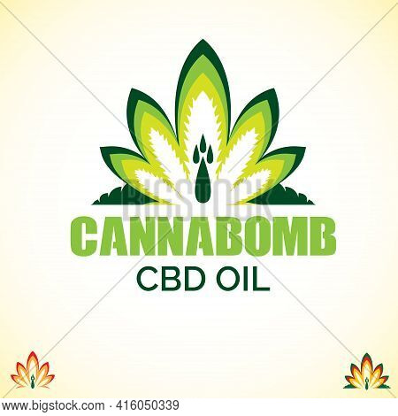 Cannabomb Logo Vector. A Concept That Combine Weed And Blast