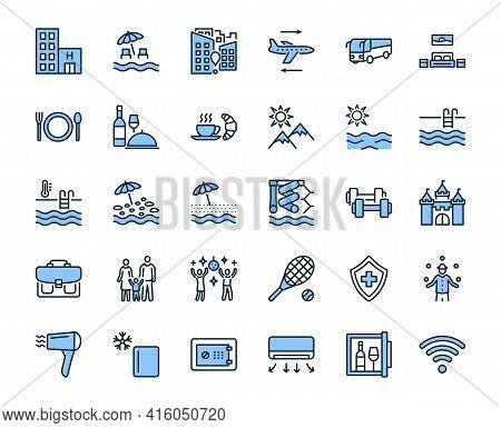 Travel Agency Flat Line Icon Set Blue Color. Vector Illustration Tourism Service Symbols Included, F